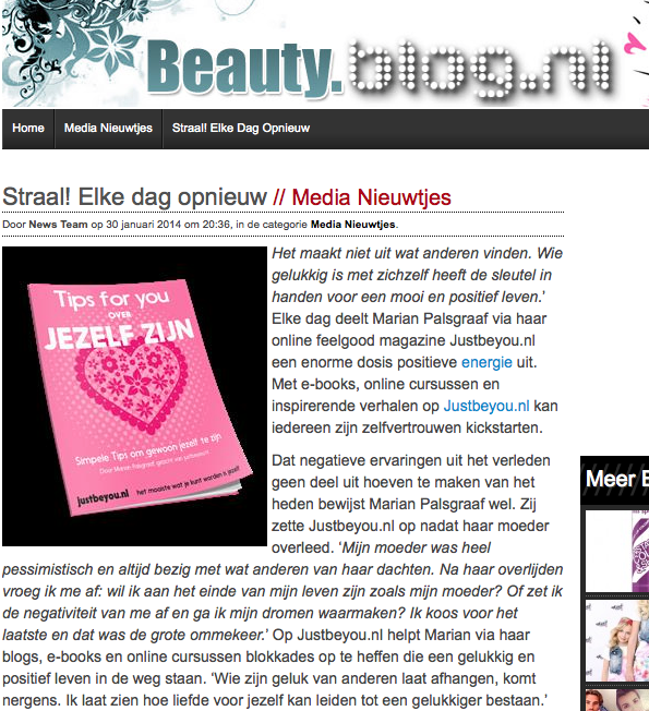 beauty.blog.nl aandacht voor Just Be You