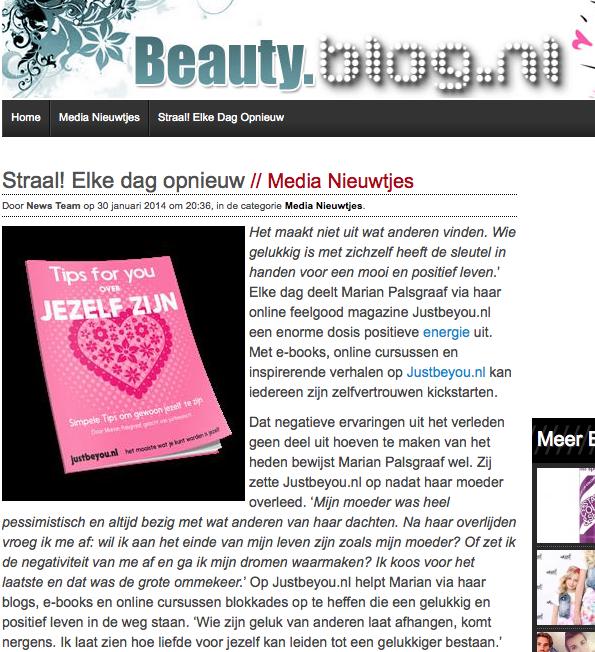 beauty.blog.nl aandacht voor Just Be You
