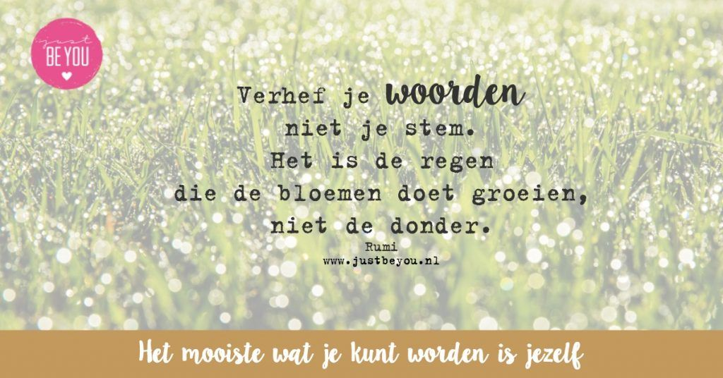 Verhef je woorden niet je stem. Het is de regen die de bloemen doet groeien, niet de donder.