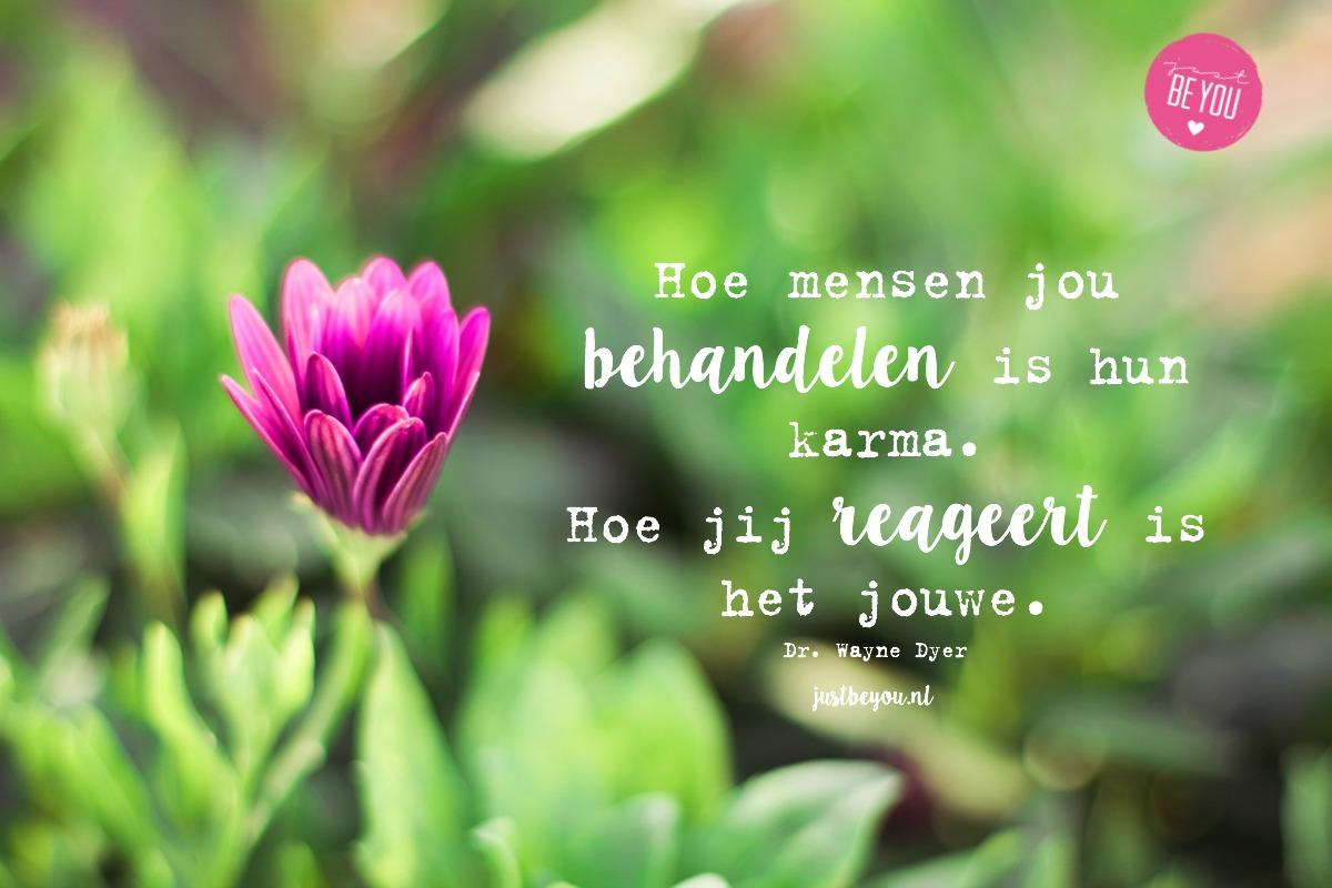 Hoe mensen jou behandelen is hun karma. Hoe jij reageert is het jouwe.